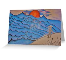 Flying The Kite At Sunset. Greeting Card