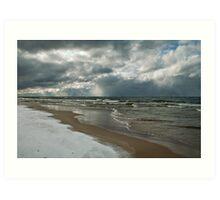 Winter Storm Over the Lake Art Print