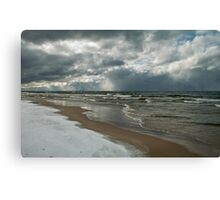 Winter Storm Over the Lake Canvas Print