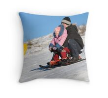 Fun high speed sledding 2 Throw Pillow