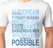 'All Men Dream' Quote [BLUE] Unisex T-Shirt