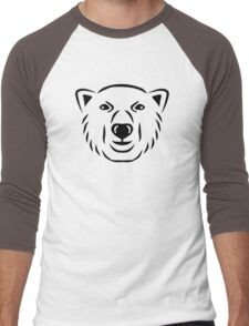 Polar bear head face Men's Baseball ¾ T-Shirt