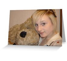 Girl and Teddy Bear Greeting Card