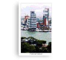 Pixel Art Cities: Rotterdam Skyscrapers Canvas Print