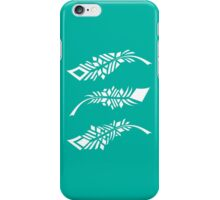 Feathers - white on teal iPhone Case/Skin