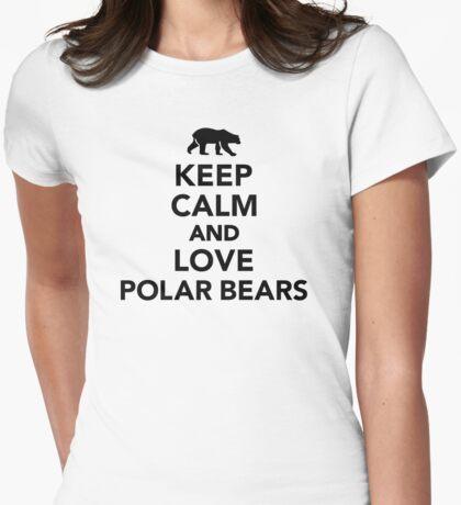 Keep calm love Polar Bears Womens Fitted T-Shirt