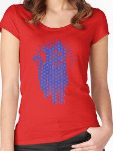 Trippy Cat: Blue Flower of life Edition Women's Fitted Scoop T-Shirt