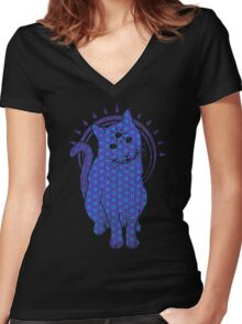 Trippy Cat: Blue Flower of life Edition Women's Fitted V-Neck T-Shirt
