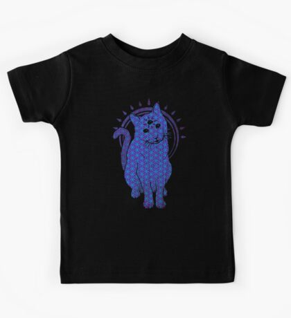 Trippy Cat: Blue Flower of life Edition Kids Clothes