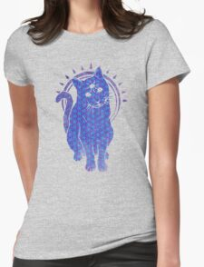 Trippy Cat: Blue Flower of life Edition Womens Fitted T-Shirt