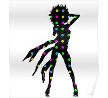 Disco Dancer Silhouette with Afro Hairstyle and Colorful Records. Poster
