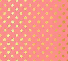 RUSTIC CONFETTI polka dot pattern gold foil effect coral by Kat Massard