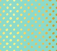 RUSTIC CONFETTI polka dot pattern gold foil effect mint by Kat Massard