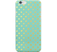 RUSTIC CONFETTI polka dot pattern gold foil effect mint iPhone Case/Skin