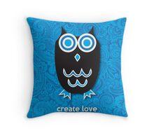 Create Love - Owl Blue Throw Pillow