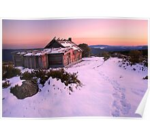 Winter Sunrise over Craig's Hut, Mt Stirling, Australia Poster