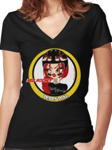 Red Rocket Derby Doll Women's Fitted V-Neck T-Shirt