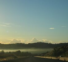 Foggy morning in the mountains, toward Brisbane. by Marilyn Baldey