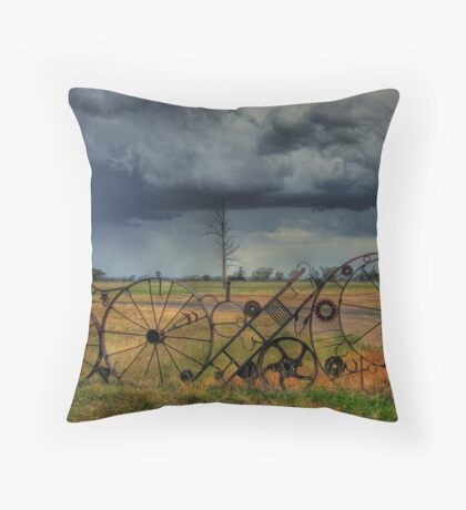 Rustic Rural Fence 002 Throw Pillow