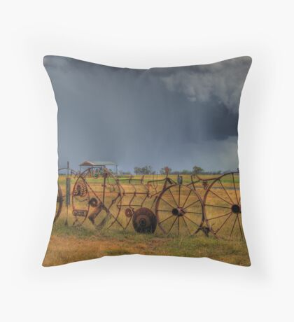 Rustic Rural Fence 003 Throw Pillow