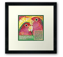 Polly want a Polly (Peach-faced lovebird) Framed Print
