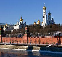 Moscow Kremlin, Russia. View from Moskvorecky bridge. by Mikhail Kovalev