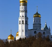 View on The Ivan the Great Bell Tower in Moscow Kremlin from Moskvorecky bridge. by Mikhail Kovalev