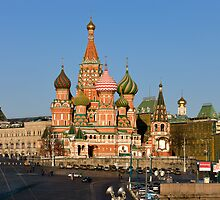St. Basil Cathedral on Red square in Moscow, Russia. View from Moskvorecky bridge. by Mikhail Kovalev