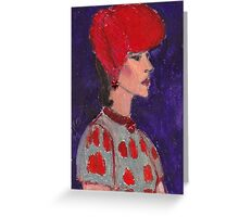 Red Hat Woman No #2 1940's Greeting Card
