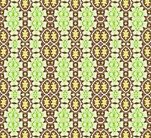Green, Brown and Gold Abstract Design Pattern by Mercury McCutcheon