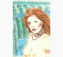 """""""UNDINE"""" - SENSUAL MERMAID IN TRADICIONAL BALTIC BEACH CHAIR - Color-Pencil and Pastel-Design Womens Fitted T-Shirt"""