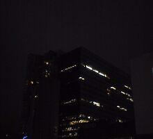 rooftop cinema, night falls by Tatterhood