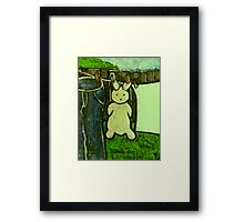 Rabbit on a washing line Framed Print