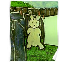 Rabbit on a washing line Poster
