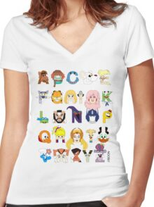 Child of the 80s Alphabet Women's Fitted V-Neck T-Shirt