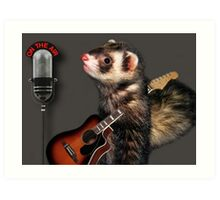 LITTLE FERRET WITH GUITAR ON THE AIR COMING TO LIVE ON R.B.SING LITTLE FERRET SING.. PICTURE AND OR CARD ECT. Art Print