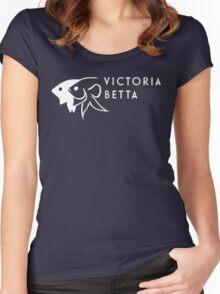 Victoria Betta - White logo Women's Fitted Scoop T-Shirt