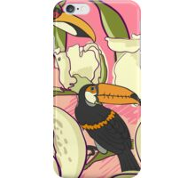 Seamless floral background with peonies bird toucan iPhone Case/Skin