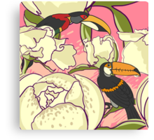 Seamless floral background with peonies bird toucan Canvas Print