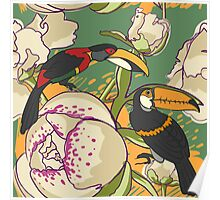 Seamless floral background with peonies bird toucan Poster