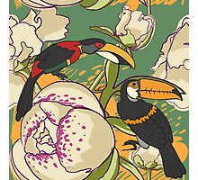 Seamless floral background with peonies bird toucan Photographic Print