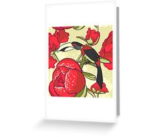 Seamless floral background with peonies bird toucan Greeting Card