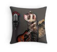 LITTLE FERRET WITH GUITAR ON THE AIR COMING TO U  LIVE ON R.B.SING LITTLE FERRET SING..PILLOW AND OR TOTE BAG ECT. Throw Pillow
