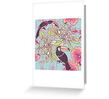 Seamless floral background with petunia toucan Greeting Card
