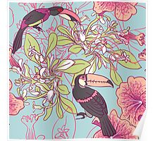Seamless floral background with petunia toucan Poster