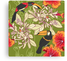 Seamless floral background with petunia toucan Canvas Print