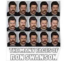 The Many Faces of Ron Swanson Poster
