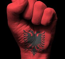 Flag of Albania on a Raised Clenched Fist  by Jeff Bartels