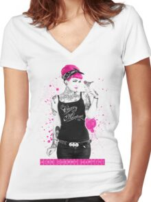 """A Splash of Colour"" Women's Fitted V-Neck T-Shirt"