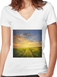 Field Rissing Women's Fitted V-Neck T-Shirt